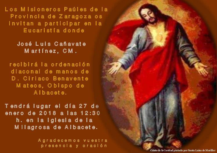 Ordenación diaconal de José Luis Cañavate Martínez, CM.
