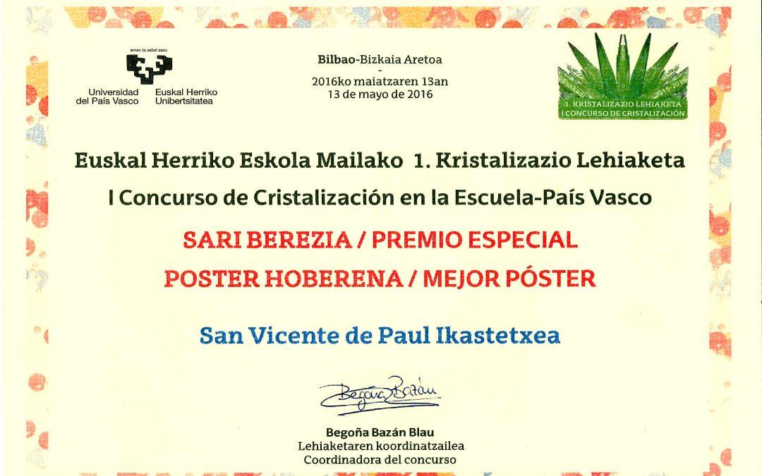 Premio en el concurso de Cristalización.